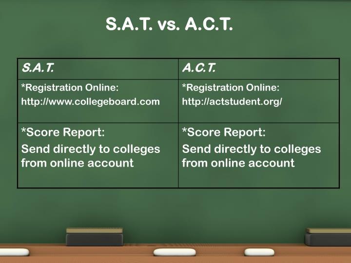 S.A.T. vs. A.C.T.