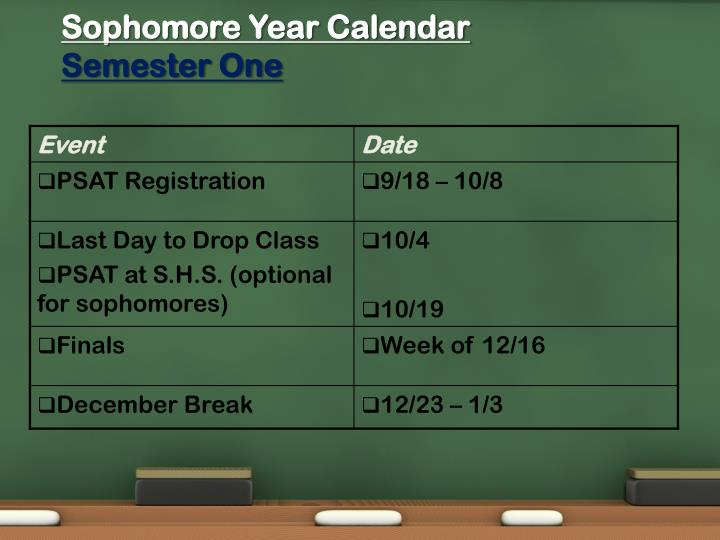 Sophomore Year Calendar