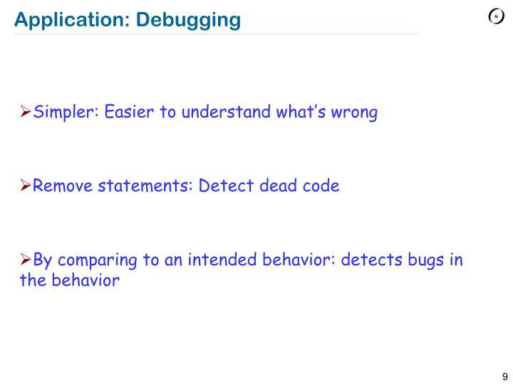 Application: Debugging