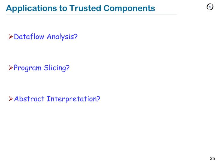 Applications to Trusted Components