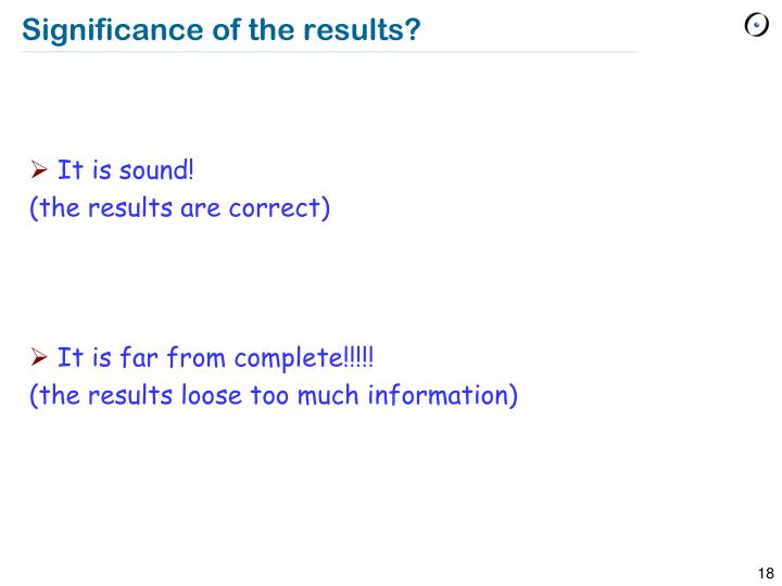 Significance of the results?