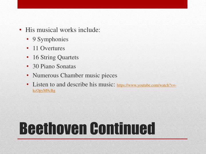 His musical works include: