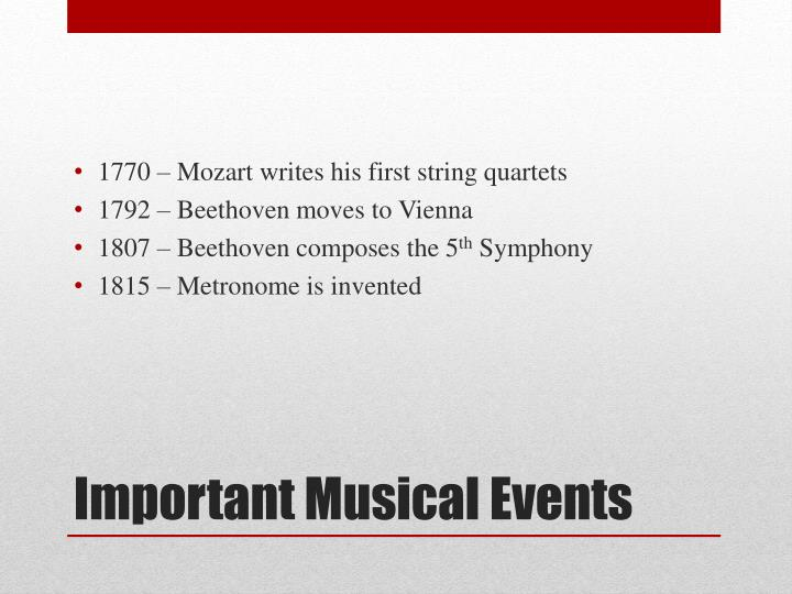 Important musical events