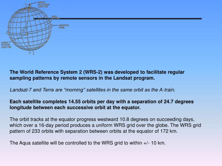The World Reference System 2 (WRS-2) was developed to facilitate regular sampling patterns by remote sensors in the Landsat program.