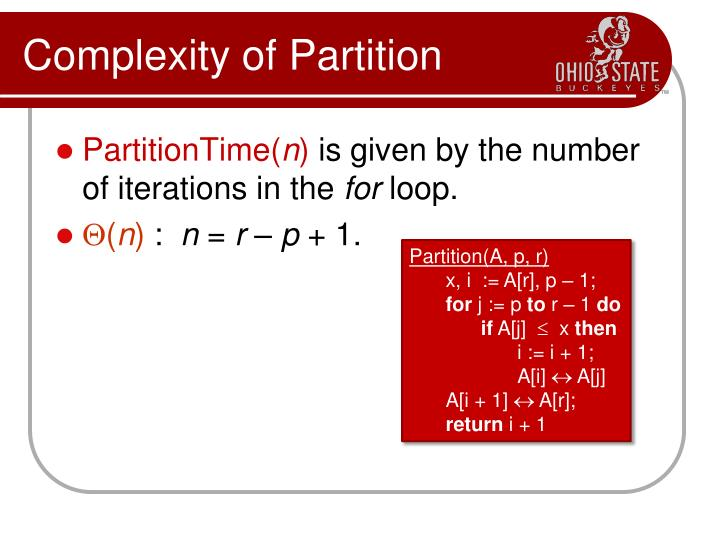 Complexity of Partition