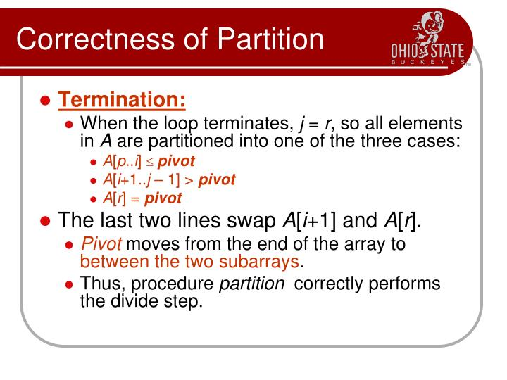 Correctness of Partition