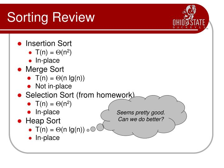 Sorting review
