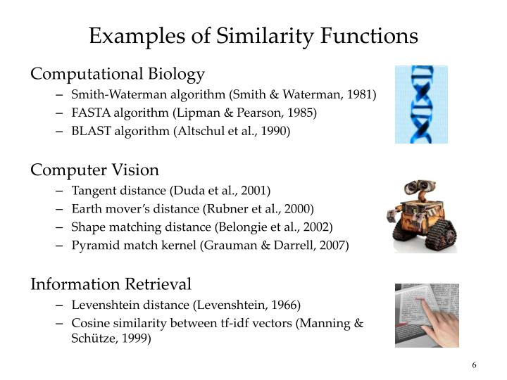 Examples of Similarity Functions