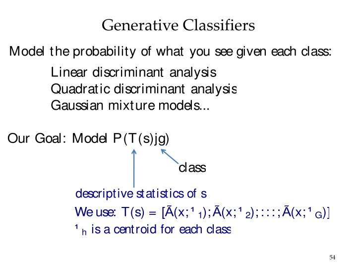 Generative Classifiers
