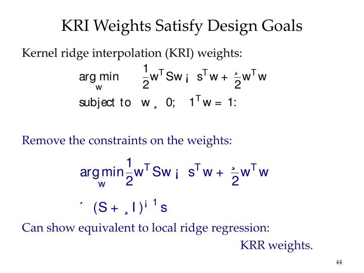 KRI Weights Satisfy Design Goals