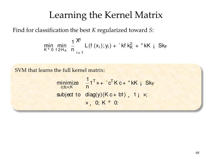 Learning the Kernel Matrix