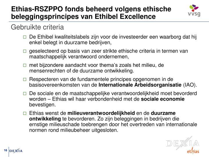 Ethias-RSZPPO fonds beheerd volgens ethische beleggingsprincipes van Ethibel Excellence
