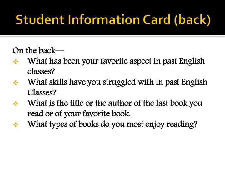 Student Information Card (back)