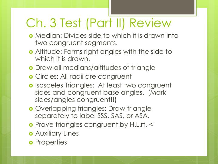 Ch 3 test part ii review