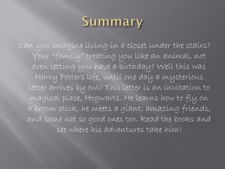 Harry Potter Book Summary : Ppt harry potter and the sorcerer s stone powerpoint