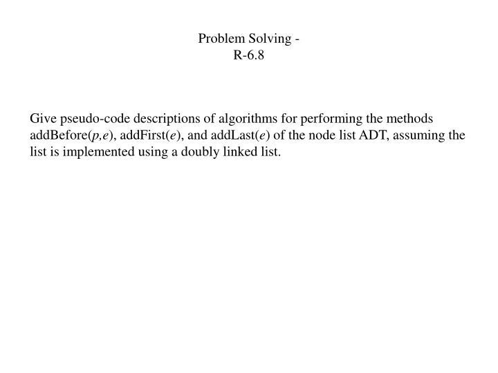 Problem Solving -