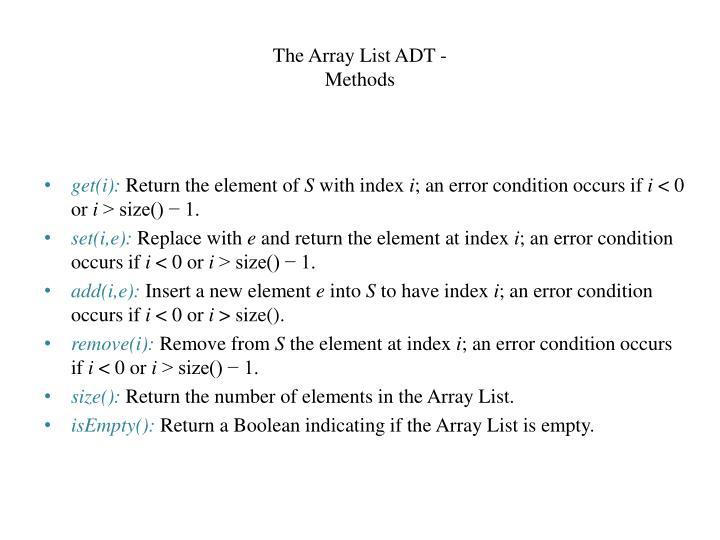 The Array List ADT -