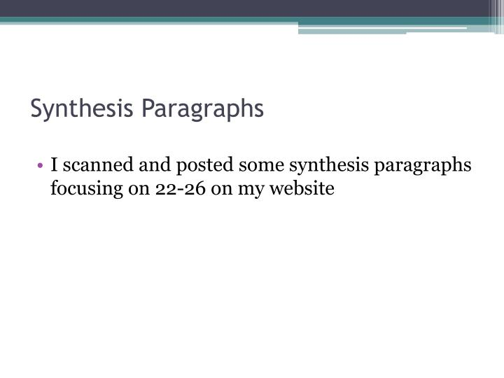 Synthesis paragraphs