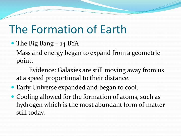 The formation of earth