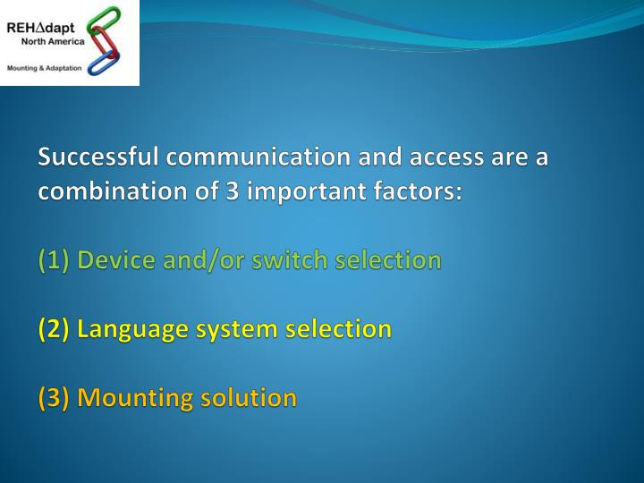 Successful communication and access are a combination of 3 important factors: