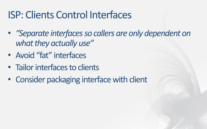ISP: Clients Control Interfaces