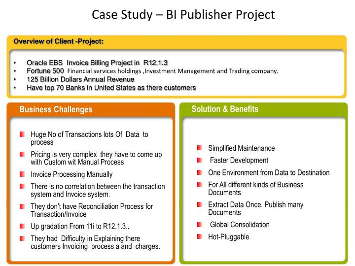 Case study bi publisher project