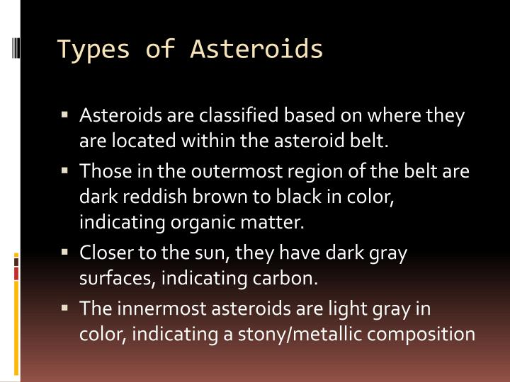 Types of Asteroids