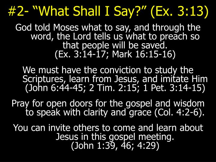 "#2- ""What Shall I Say?"" (Ex. 3:13)"