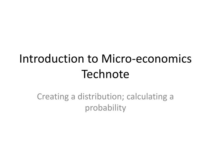 Introduction to micro economics technote