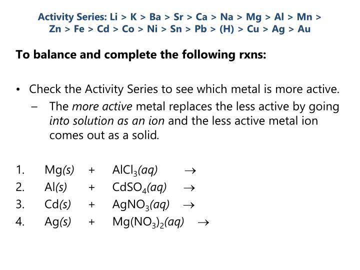 Activity Series: Li > K > Ba >