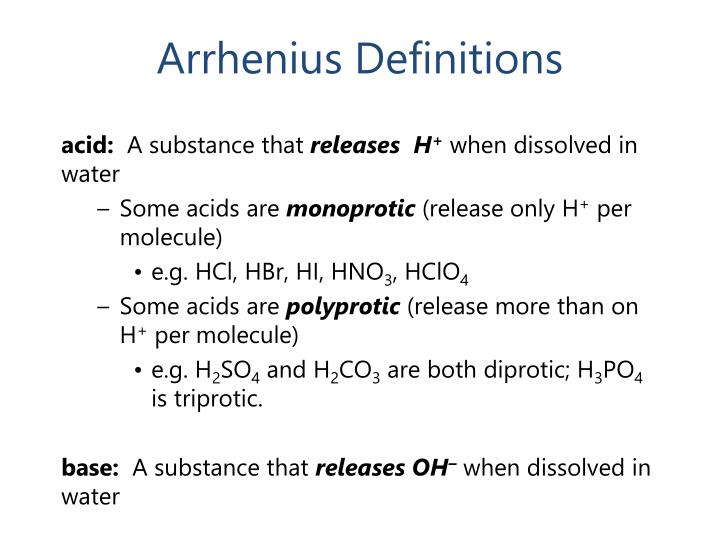 Arrhenius Definitions