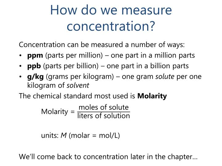 How do we measure concentration?