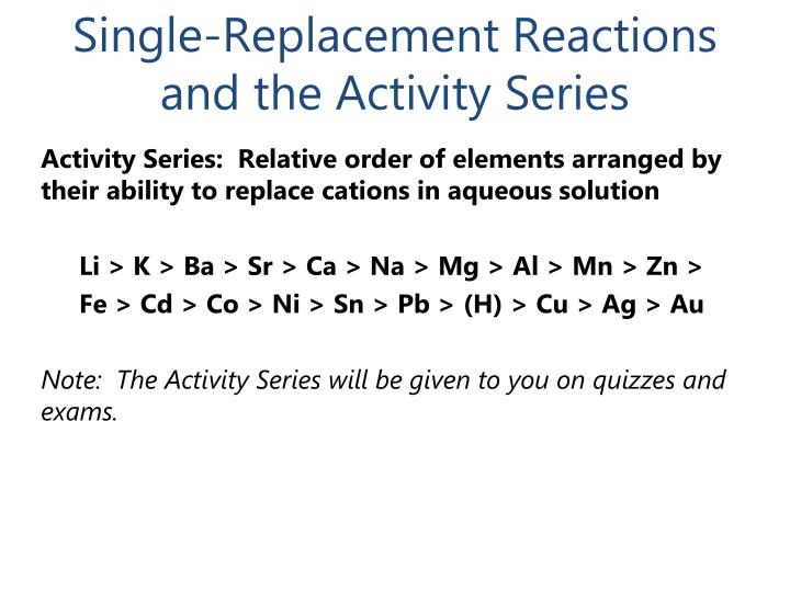 Single-Replacement Reactions and the Activity Series