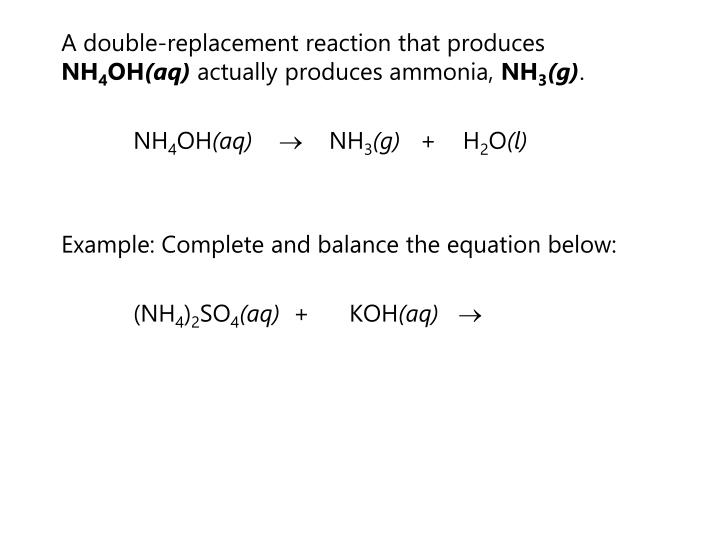 A double-replacement reaction that produces