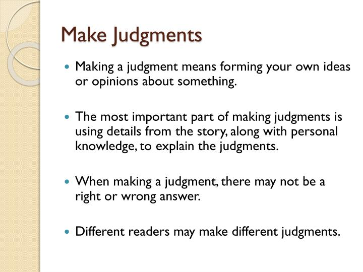 Make Judgments