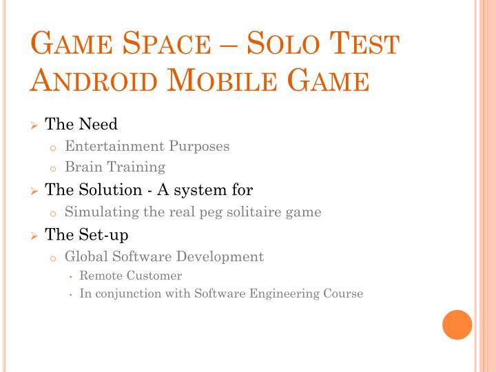 Game Space – Solo Test Android Mobile Game