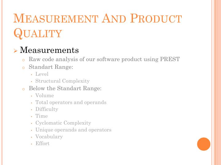 Measurement And Product Quality