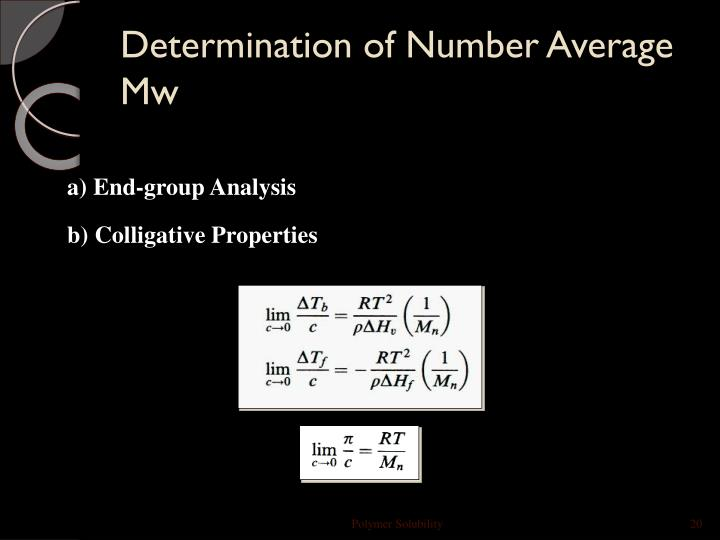 Determination of Number Average Mw