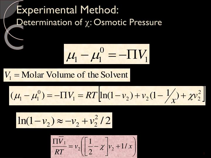 Experimental method determination of osmotic pressure