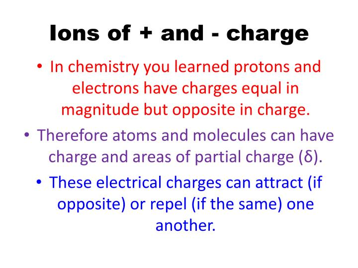 Ions of + and - charge
