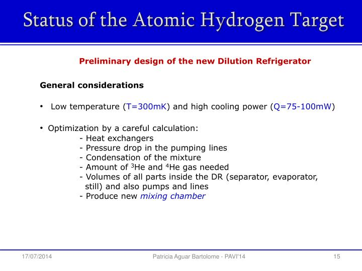 Status of the Atomic Hydrogen Target