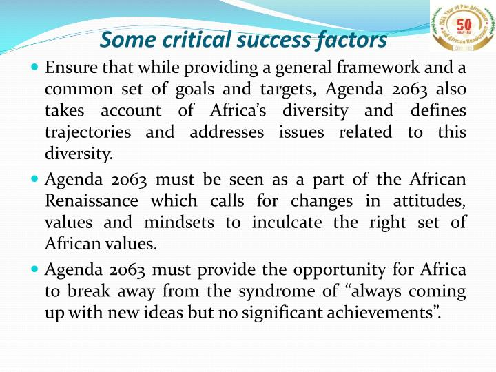 Some critical success factors