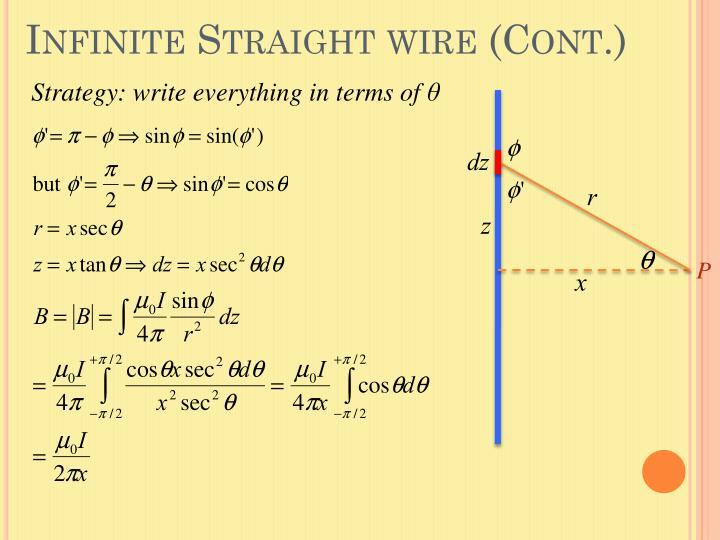 Infinite Straight wire (Cont.)