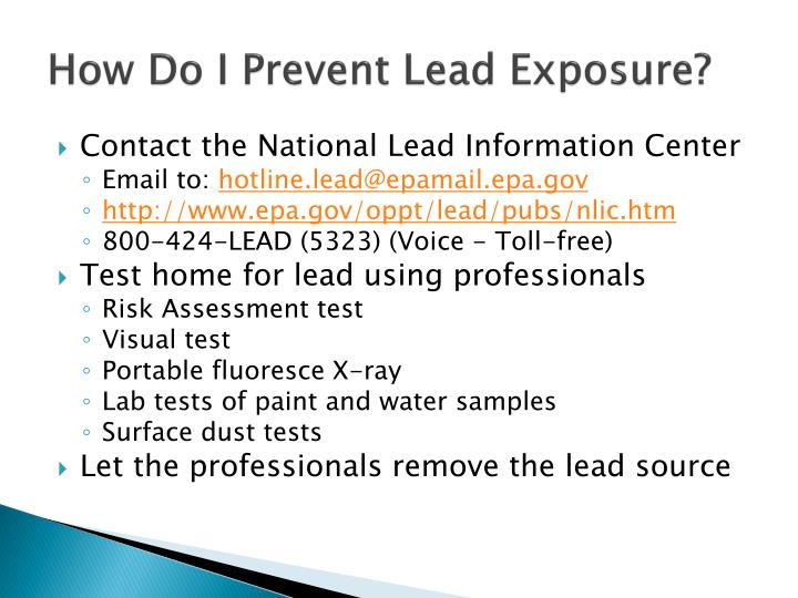 How Do I Prevent Lead Exposure?