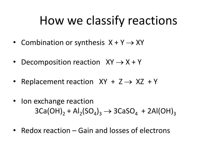 How we classify reactions