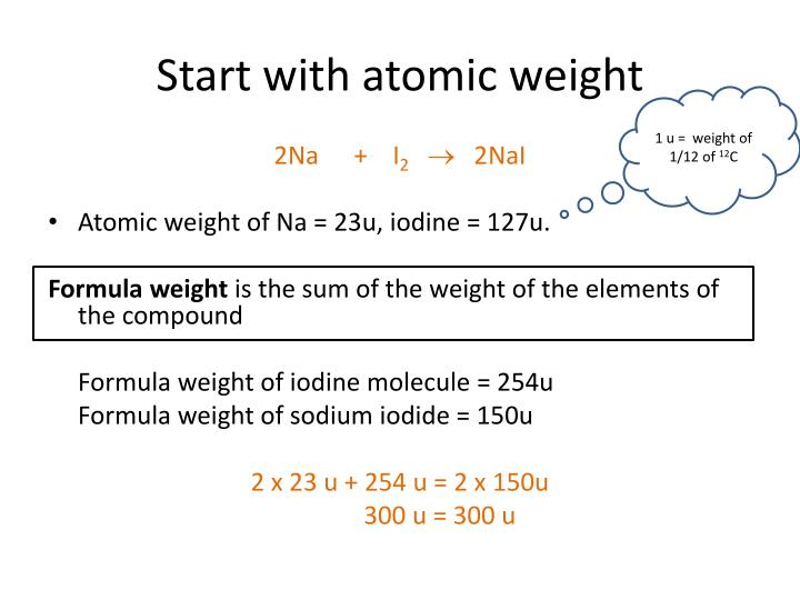 Start with atomic weight