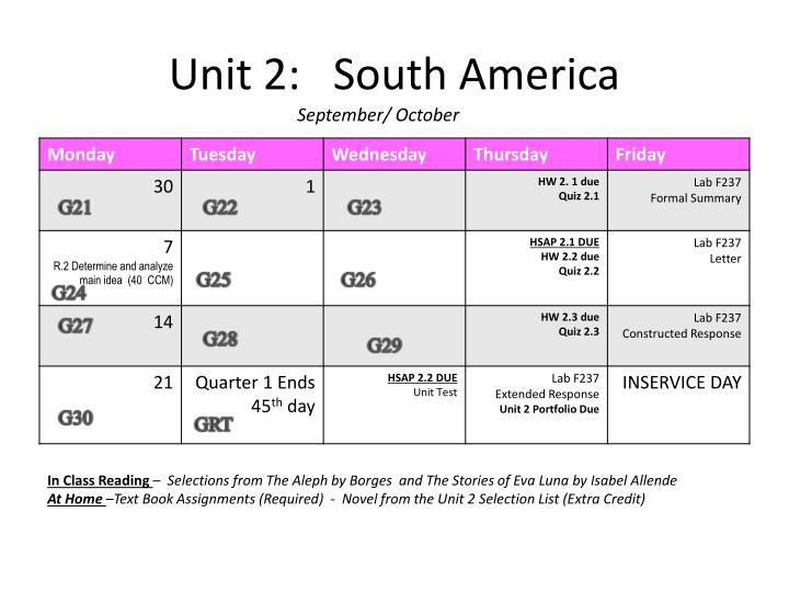 Unit 2:   South America