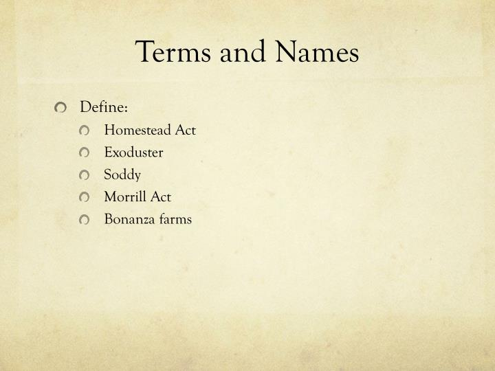 Terms and Names