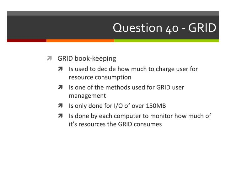 Question 40 - GRID