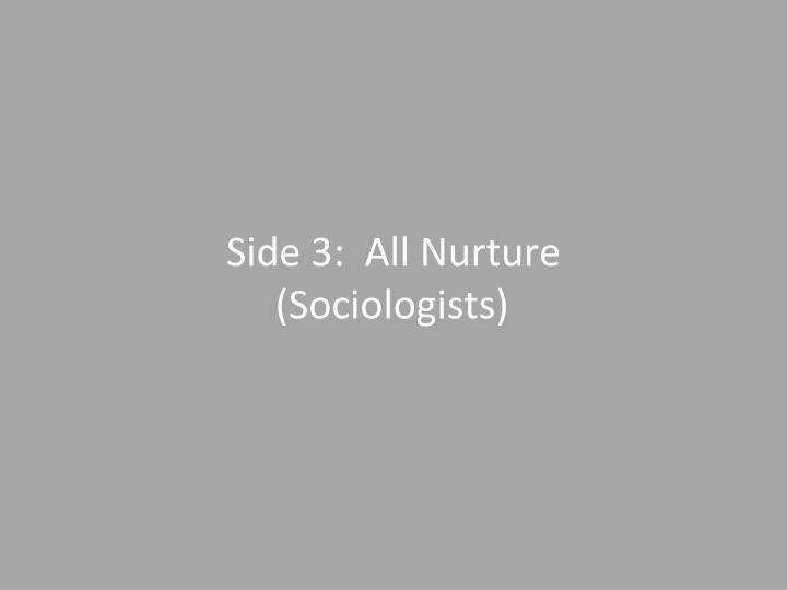 """nature v nurture a sociological view Sociology's larger concern is the effect that society has on human behaviour, the """"nurture"""" side of the nature versus nurture debate to what degree are processes of identification and """"self-fulfilling prophecy"""" at work in the lives of the twins elyse schein and paula bernstein."""